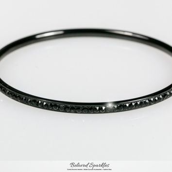 Katlynn Hematite Black Crystal Bangle Bracelet | 2 Carat | Crystal