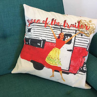 Camper Pillow Cover- RV Pillow- Glamping Pillow- Shasta- Airstream- Trailer Park Queen- Floral- Retro Pillow- Vintage- Travel Trailer- Red