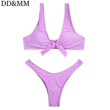 DD&MM Solid Bikini Set Bow-Knot Brazilian Bikini Swimwear Women Sexy Push Up Thong Bottom Swimsuit Beach Bathing Suit Biquini