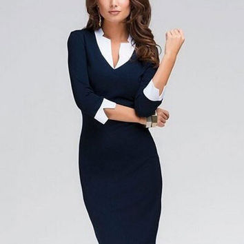 Dark Blue V-neck Half Sleeve Midi Dress