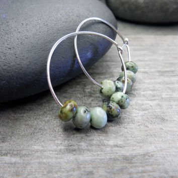 Hoop Earrings, African Turquoise, Earthy Jewelry, Sterling Silver, Pale Blue, Soft Grey, Woodland Green, Rustic Brown, Contemporary Zen