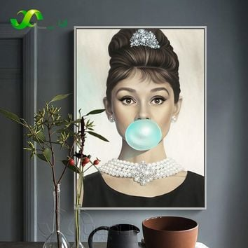1 Pcs Nordic Wall Art Decoraction Audrey Hepburn Canvas Picture For Living Room Nordic Style Painting Modern Prints Unframed
