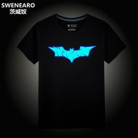 SWENEARO Batman Costume Summer Glow in Dark Batman T Shirt Neon Design Hipster Mens Clothing Hi Street Clothes Cartoon Tee Shirt