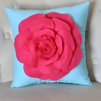 Hot Pink Rose on Robins Egg Blue Pillow by bedbuggs on Etsy