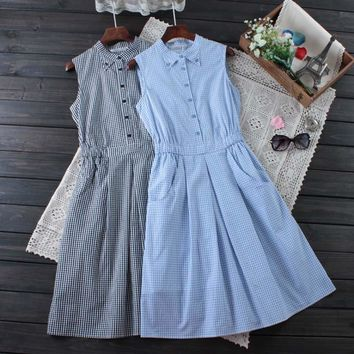 Japanese Summer Women's Sweet Plaid Button Mid Calf Dress Slim Waist Sleeveless Plaid Female Vestido Dress Mori Girl Cute C112