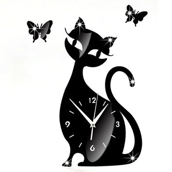 Cute Cat Mirror Black Wall Clock Modern Design Home Decor Watch Wall Sticker