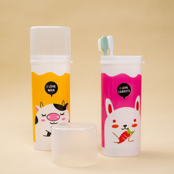 Lovely Cartoon Style Gargle Cup Portable Tooth Brush Case Toothbrush Toothpaste Storage Box Travel Cups Camping