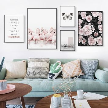 Nordic Flamingo butterfly Personality Phrase Canvas Painting Posters And Prints Art Wall Pictures Living Room Bedroom Home Decor