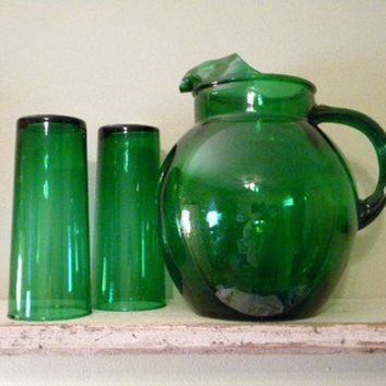 """Forest Green Depression 7"""" Glass Tumbler and Pitcher"""