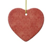 Retro Red Damask Vintage Ornament from Zazzle.com