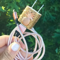 Rose Gold Pineapple iphone 5 6 7 Charger
