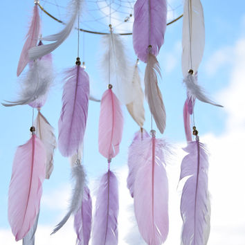 Baby Gold Dreamcatcher Mobile, Baby Girl Nursery Mobile, Lilac  Pink White Feathers Nursery Decor, Bedroom Gold Decor