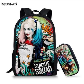 INSTANTARTS Fashion Harley Quinn Print School Bags for Teen Girls Suicide Squad Design Middle School Student Backpacks Satchels