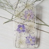 Sixspace Personalized Purple Larkspur and White Lavender Real Dried Pressed Flowers Case for iPhone6 4.7/iPhone6 Plus 5.5