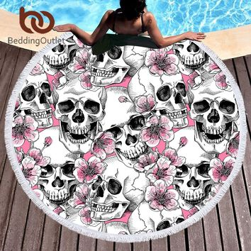 Sugar Skull Round Beach Towel Tassel Cherry Blossoms
