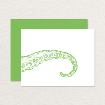 Tentacle 4 Bar Printable Note Card / Printable Stationery / Octopus Card / Cthulu Card