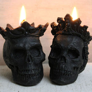 Beeswax Candle, black, skull, queen, gothic wedding, gothic, king, royal couple, sculpture, crown, scary, organic bees wax, human skull,