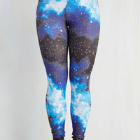 90s Long Skinny Fresh Take Leggings in Blue Universe by ModCloth
