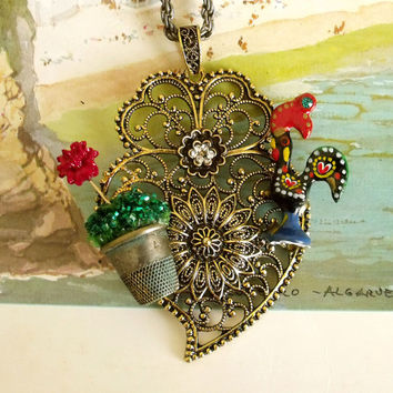 Portuguese folk Luck rooster Heart gold necklace made in Portugal jewelry Galo de Barcelos filigree pendant
