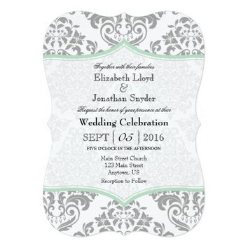 Mint Green Gray Damask Bracket Wedding Invite