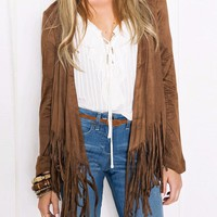 Awesome Women's Brown Faux Suede Fringe Blazer Jacket