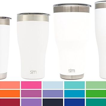 Simple Modern 30oz Cruiser Tumbler - Vacuum Insulated Double Wall Artic Thermos - 30 oz 18/8 Stainless Steel White Travel Mug - Winter White