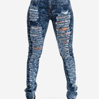 Fashion Jeans-Cute High Waist Jeans-Acid wash skinny jeans