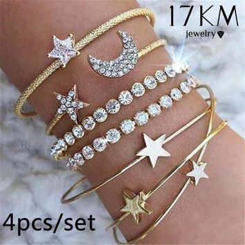 4pcs/set Popular Charm Star Moon Love Heart Opening Bracelet Set Gold/silver Simple Trendy Beautiful Bangle Cuff Bracelet Party