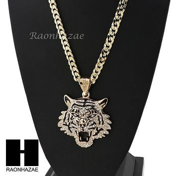 MENS HIP HOP ICED OUT TIGER PENDANT & DIAMOND CUT CUBAN LINK CHAIN NECKLACE NN57