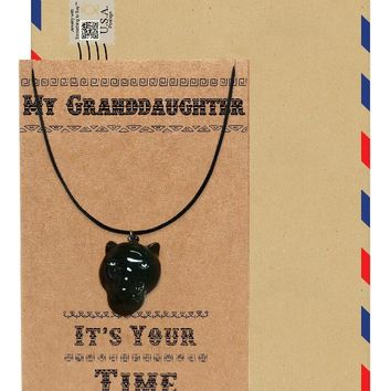 Jhermaine Black Panther Inspired Necklace, Gift for Her, Gift for Grand daughter with Greeting Card