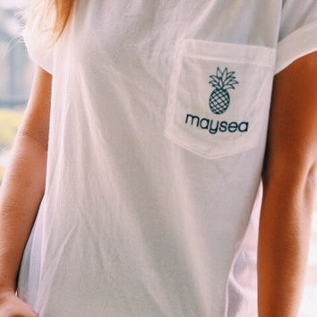 Maysea White + Navy Ink Pocket Tee