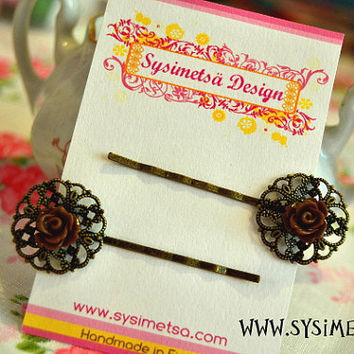 Flower Hair Pins, Brown Resin Rose Cabochon, A Pair Of Antique Bronze Filigree Bobby Pins, A Set Of 2