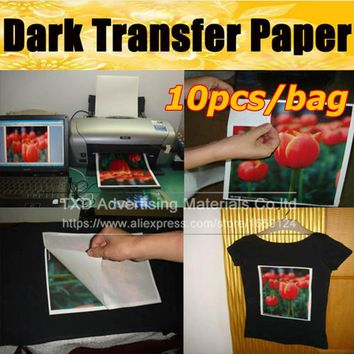 Free shipping New 10 Sheets Iron On Inkjet Print Heat Transfer A4 Paper paint paper For dark black textiles Fabric T-Shirt