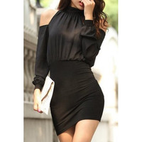 Black Cold Shoulder Long Sleeve Bodycon Dress