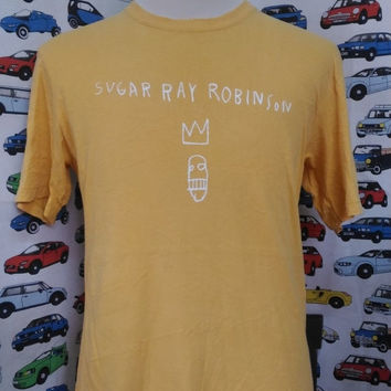 15% DISCOUNT PROMOTION SUGAR Ray Robinson jean michel basquiat keith harring ralph lauren yellow t shirt by uniqlo