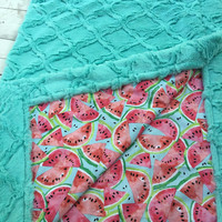 faux fur baby blanket Minky baby blanket watermelon theme watermelon baby watermelon fabric gifts for mom Mother's Day gifts summer blankets