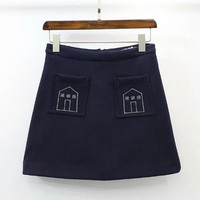 Navy Embroidery Pockets Mini Skirt