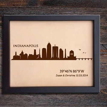 Lik368 Leather Engraved Wedding Third Anniversary indianapolis Longitude Latitude personalized gift place wedding date wedding names