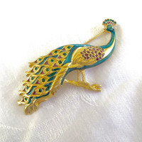 Bob Mackie Peacock Brooch, Vintage Designer Signed Pin,  Rhinestone and Enamel Peacock Jewelry