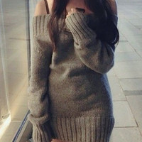 Grey Strappy Long Sleeve Knitted Dress