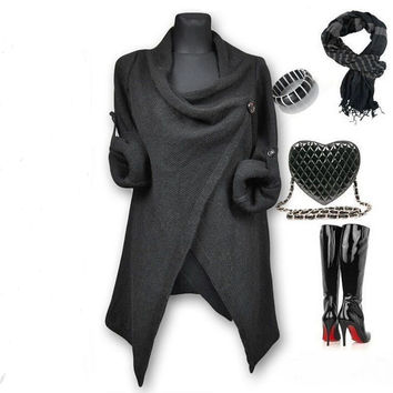 Dark Grey Long Sleeve Asymmetrical Sweater Dress
