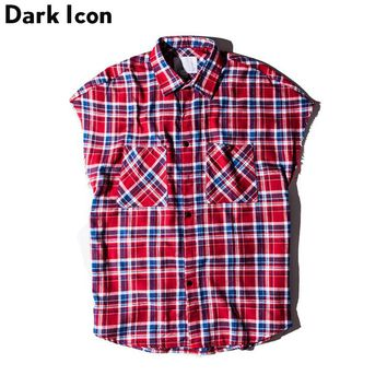 Plaid Shirts Men Sleeveless Summer Street wear Side Zipper Fennel Hip Hop Shirts Casual Shirts for Men Clothes