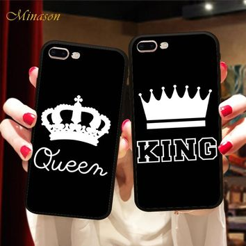 Minason Matching Couple Case for iPhone X Case Valentine KING Queen Lover Crown Silicon Cover for iPhone 6 5 5s 6s 7 8 plus Case