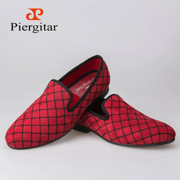 Four Colors Lattice Men Velvet shoes Men Fashion Loafers Plus Size Smoking Slipper Men's Flats Size US 6-14 shipping