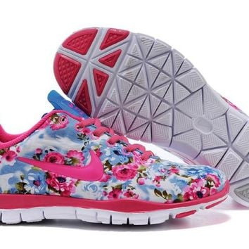 Women's Nike Free TR FIT 3 Flower Print Training Shoes Blue/Pink