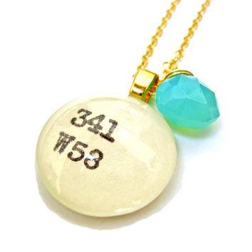 Dew Mist Seafoam Mint Green Chalcedony 22K Gold Library Dewey Decimal Necklace