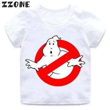 Ghostbusters Cartoon Design Funny Kids T shirt Boys and Girls Summer White T-shirt Baby Casual Clothes,HKP5140
