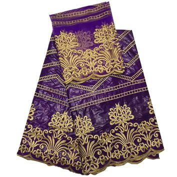 African Lace fabric High Quality Bazin Riche embroidery Jacquard dress with beads for wedding  in purple HR48-35