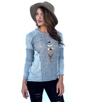 Shades Of Grey Knit Hoodie Top
