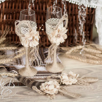 IVORY Rustic Chic Wedding glasses & cake server and knife with rope, lace, pearl handmade flower /ivory gray burlap, vintage inspiration
